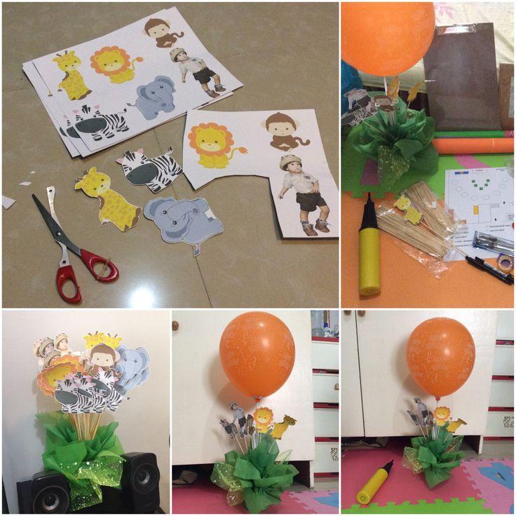 Diy balloon decor table centerpiece jungle safari theme