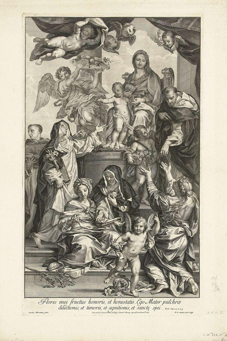 Robert van Audenaerd | Maria met kind op troon, met rozenkranzen, Robert van Audenaerd, Jacob Frey, 1695 - 1700 | Maria zit op een troon en Christus staat voor haar op een kussen. Hij deelt rozenkransen uit aan leden van de Dominicanenorde. Rechts Dominicus en links Catharina van Siena. Deze geven de kransen verder aan anderen. Onder de voorstelling een vers uit de bijbel in het Latijn.