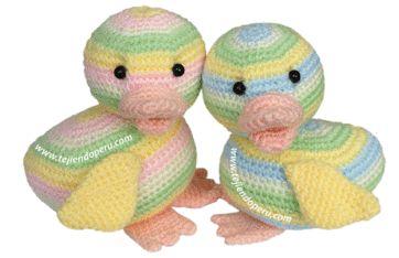 Tutorial: pato tejido a crochet (amigurumi duck)༺✿ƬⱤღ  https://www.pinterest.com/teretegui/✿༻