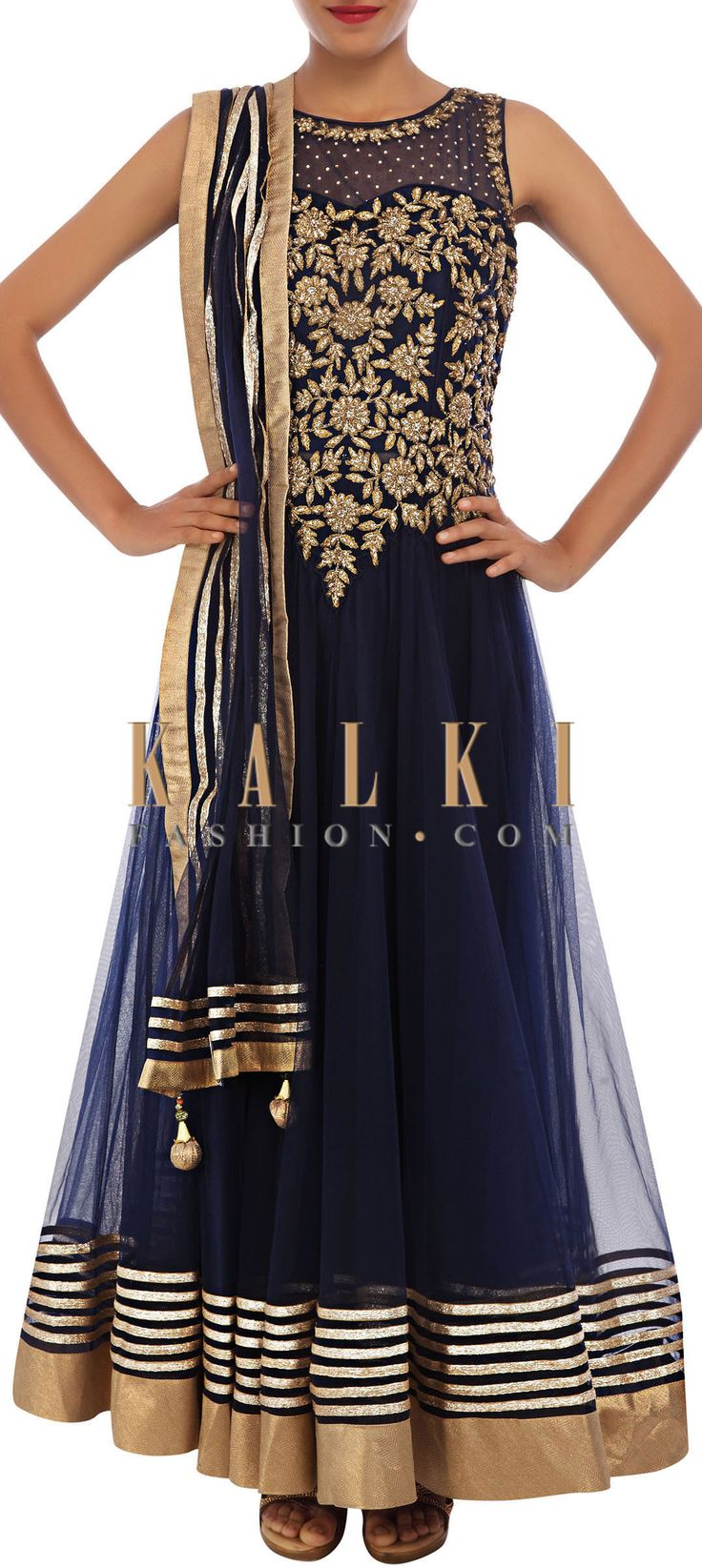 Buy Online from the link below. We ship worldwide (Free Shipping over US$100) http://www.kalkifashion.com/navy-blue-anarkali-suit-adorn-in-embossed-zari-embroidery-only-on-kalki.html