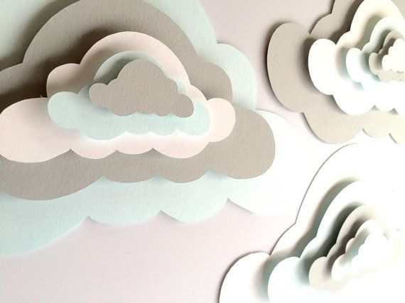 3 Pop Up Paper Clouds, cloud wall art, 3 3d paper clouds, cloud nursery decor…
