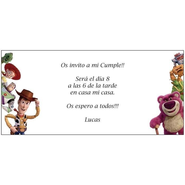 Invitación de Cumpleaños Toy Story