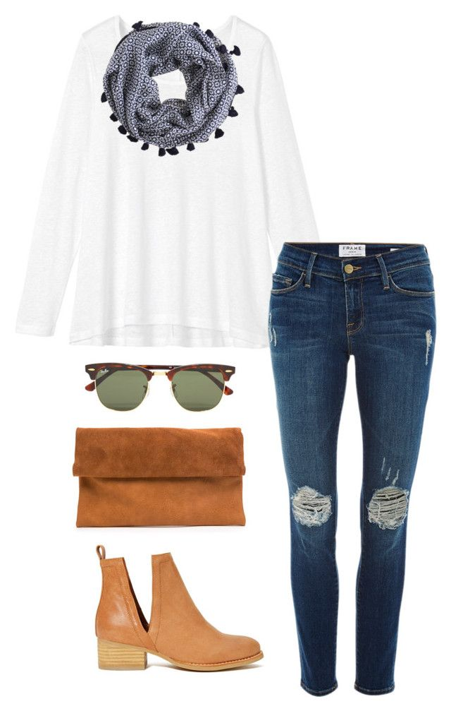ray-ban clubmasters by kcunningham1 ? liked on Polyvore featuring moda, Ray-Ban, Toast, Frame Denim, J.Crew, Jeffrey Campbell, womens clothing, women, female y woman