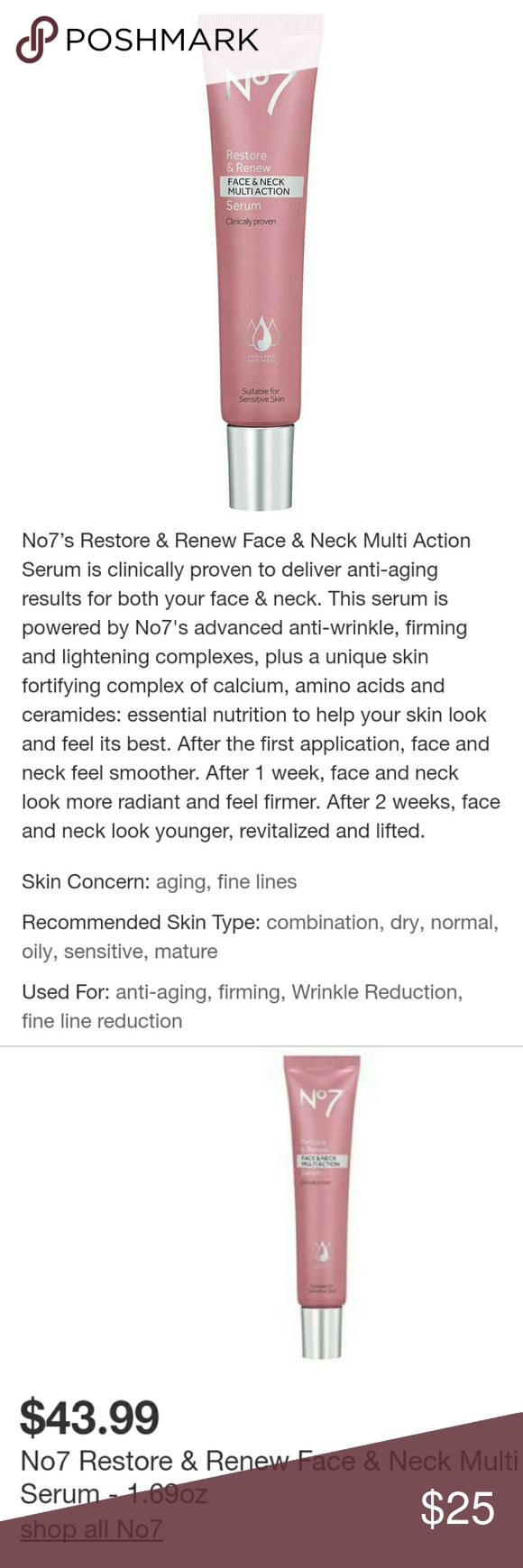 *New*No. 7 Restore & Renew Anti-Aging Facial Serum Brand New Never Used. This product is amazing with the reviews to back up its quality! no. 7 Makeup