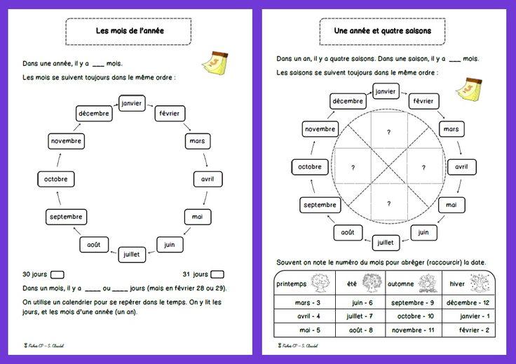 DDM : la semaine/les jours, l'année/les mois/les saisons Lecture : exercices de discrimination visuelle