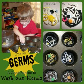 http://heymommychocolatemilk.blogspot.com.au/2012/10/yarn-germs.html... germ craft and lesson for young preschool age children