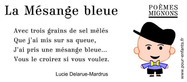 Poésie pour enfants. Un poème de Lucie Delarue-Mardus. La Mésange bleue. Poèmes mignons. À imprimer pour la fête des pères, la fête des papas.