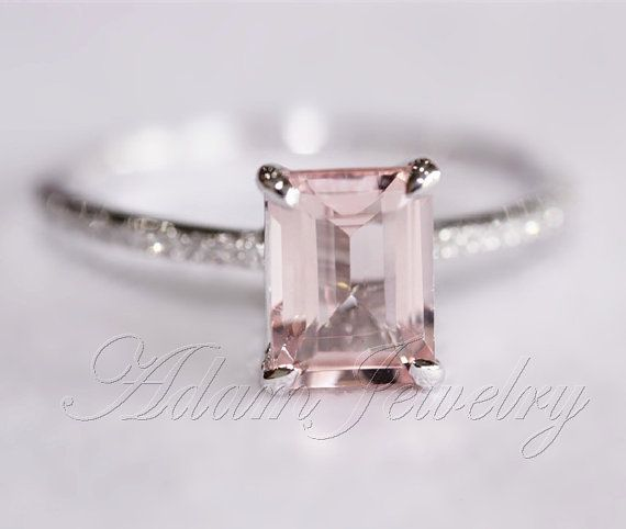 Pink Emerald Cut VS Morganite Ring SI/H Diamonds Wedding Ring 14K White Gold/ White Gold Engagement Ring/ Promise Ring/ Anniversary Ring