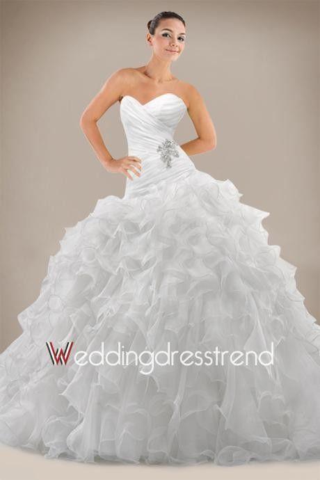 Beautiful Exquisite Ball Gown Strapless Court Train Wedding Dress - Shop Online for Cheap Wedding Dresses