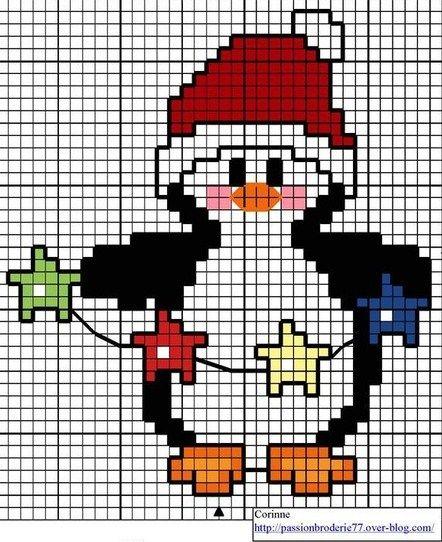 cross stitch chart - Christmas penguin
