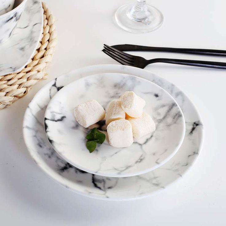 Тарелки лоток наборы посуды поднос блюда bandejas натуральный мрамор текстура керамической пластины/миску/кружки набор купить на AliExpress