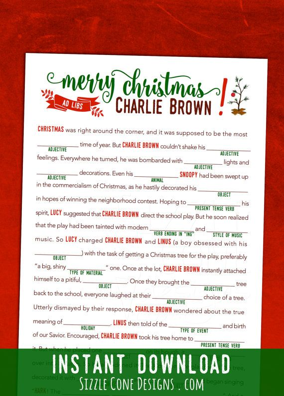 Charlie Brown Christmas Mad Libs  Printable by SizzleConeDesign