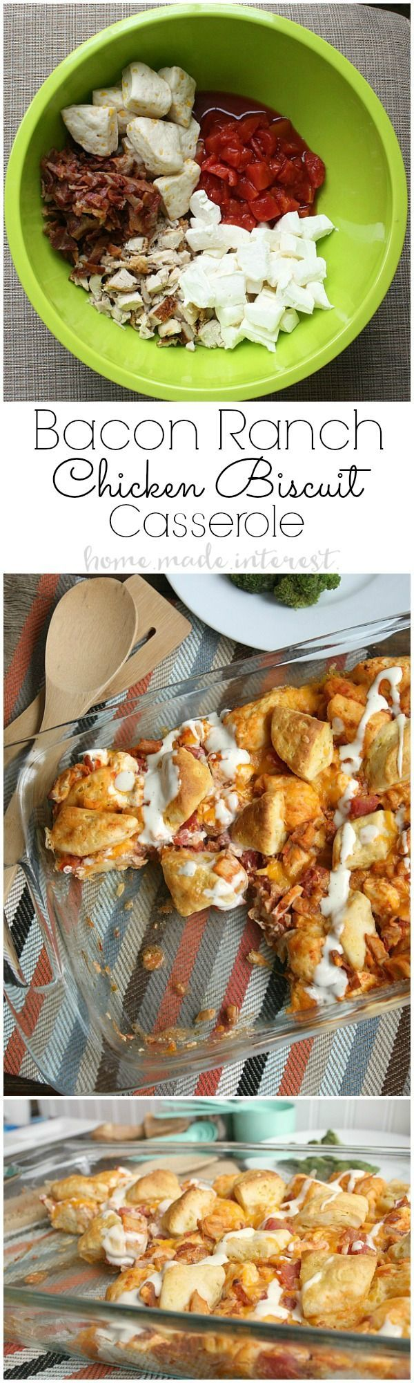 This tasty chicken casserole recipe is made with four of my favorite ingredients, rotisserie chicken, ranch dressing, bacon, and biscuits! #‎BeFlavorFull‬ ‪#‎ad‬