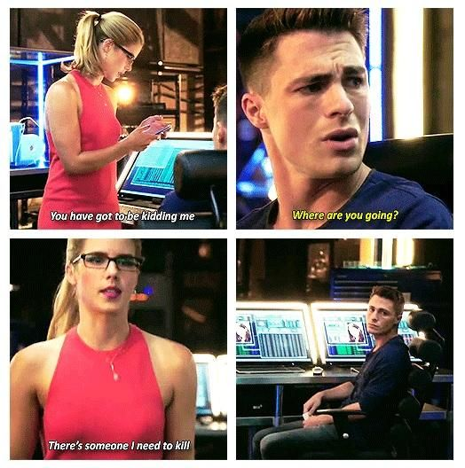 Arrow - Felicity and Roy I love how Roy is just like ok have fun with that in the last one