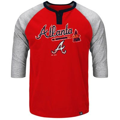 Majestic Big & Tall Atlanta Braves Red Force Play Henley Raglan 3/4-Sleeve T-Shirt