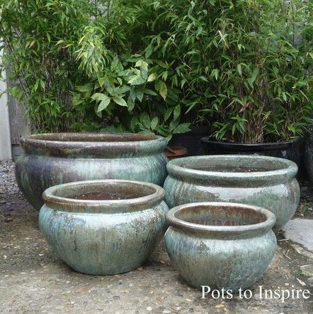Large Glazed Opal Green Low Bowl Planter | Woodside Garden Centre | Pots To  Inspire