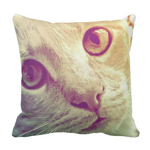 """Cat portrait, Love and Devotion Square Grade A Cotton Throw Pillow 16""""x16"""" or 20""""x20"""" #fomadesign"""