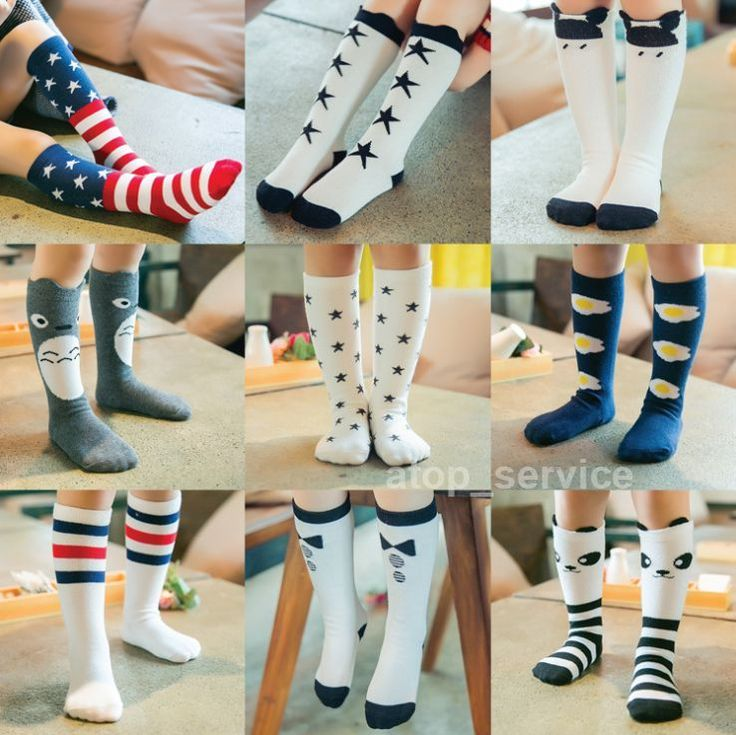 Kids Girls Cartoon Pattern Soft Cotton Socks Knee High Hosiery For Age 0-6 Years…
