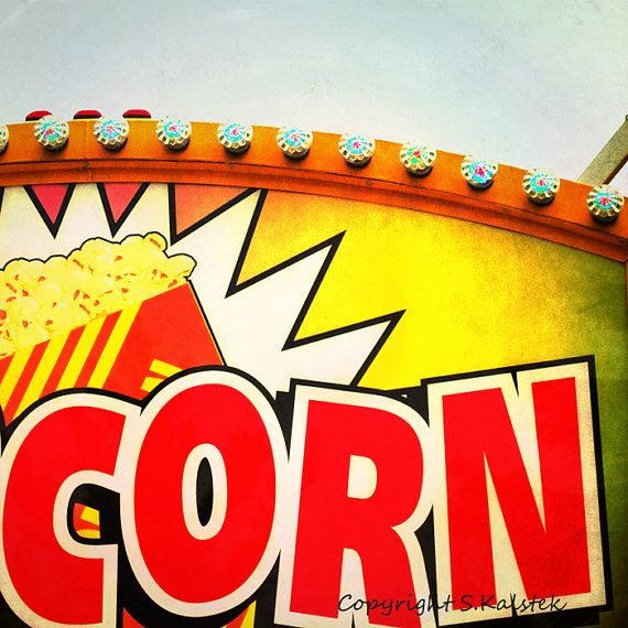 Retro Popcorn Sign Photograph Funky Red and by KalstekPhotography, $30.00