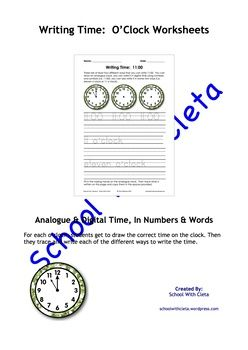These pages are designed to be repetitive and interactive for your students so that they can learn how to write the o'clock times four different ways i.e. you can draw an analogue clock, you can write it in digital time using numbers and symbols (i.e. 11:00), you can also write it in words two ways (i.e.