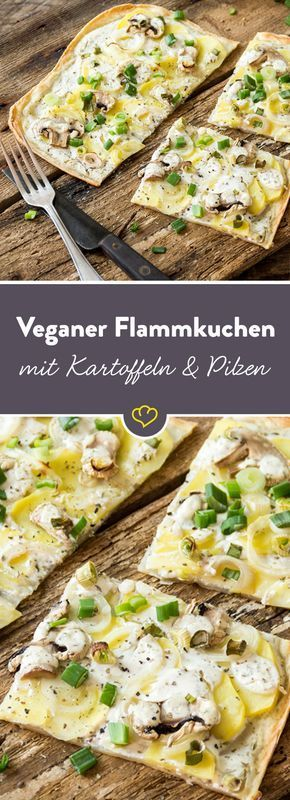 Veganer Flammkuchen mit Kartoffeln, Pilzen und Frühlingszwiebeln