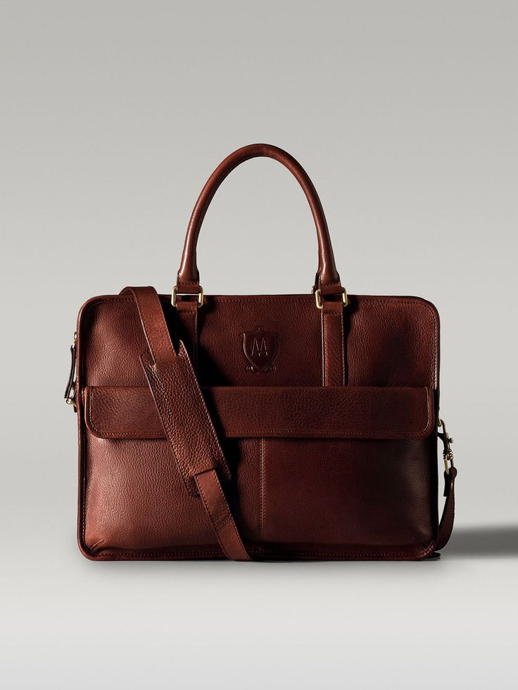 Impeccable - chocolate-coloured leather designer briefcase PORTE-DOCUMENTS CUIR IMPRIMÉ CACAO