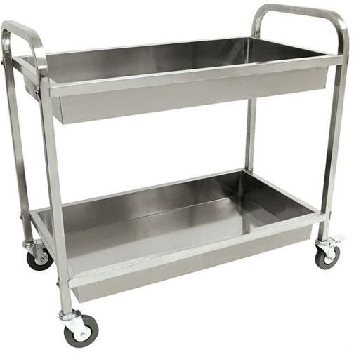 Bayou Classic Standing Stainless Steel Serving Cart 2 Levels Swivel Casters