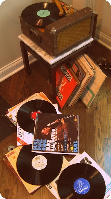 vintage records and record player