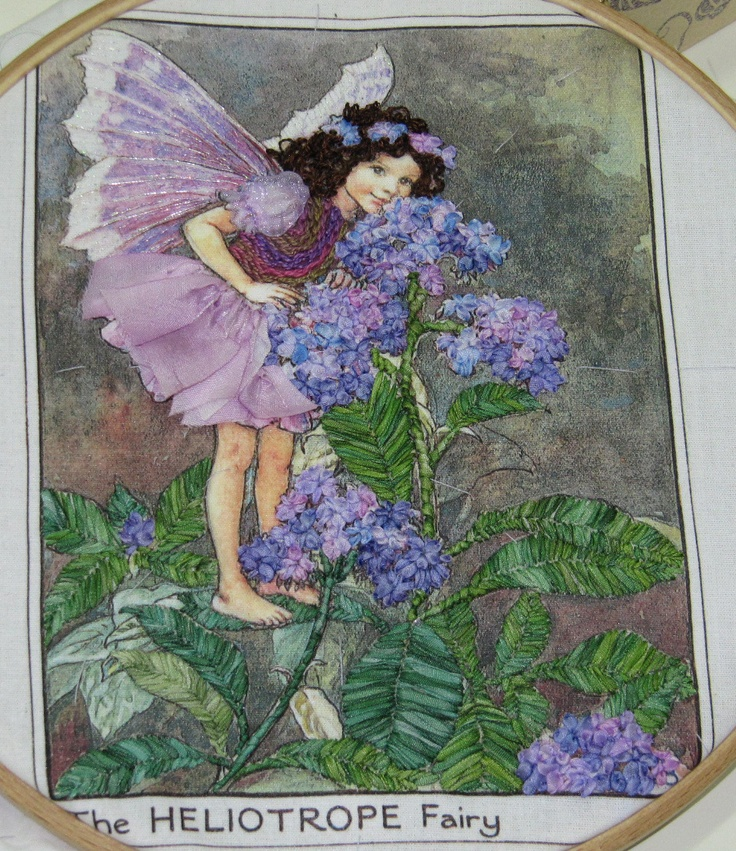 Ribbon embroidery - Heliotrope Fairy