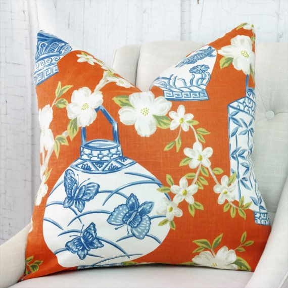 High End Designer Throw Pillows Part - 24: Designer Pillows, Both Or One Sided Pillow Cover, High End Designer Pillow, Accent  Pillow, 03710 Pumpkin Fabricut Pillow