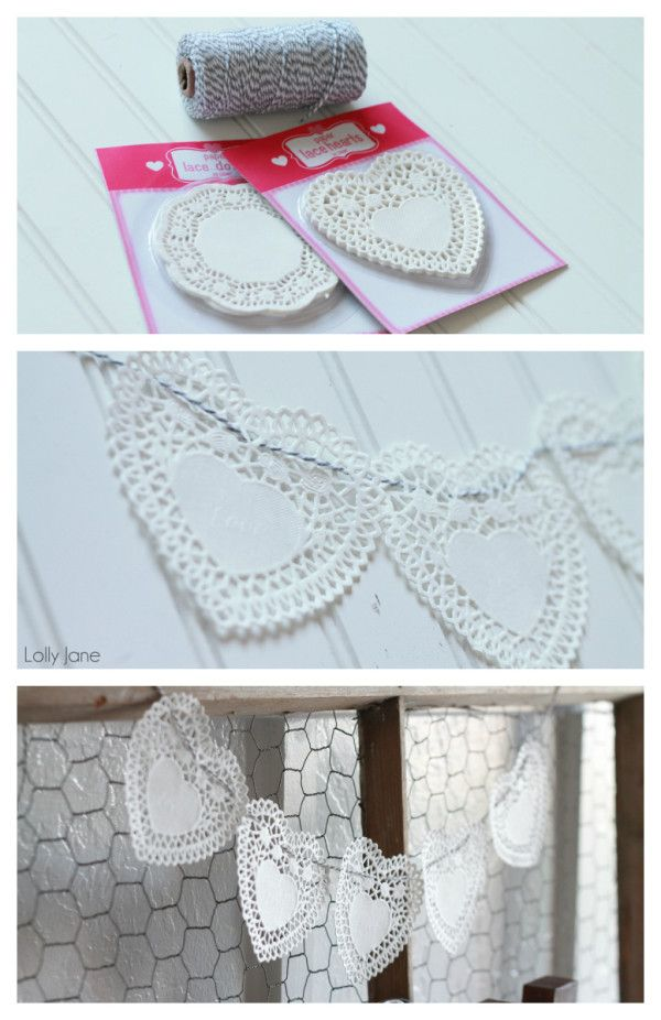 Doily Heart Bakers Twine Bunting. SO easy: bakers twine threaded through doily! via lollyjane.com