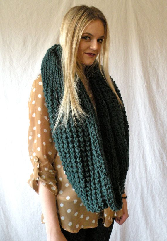 Knitting Chunky Scarf : Oversized snood infinity cowl scarf chunky knit forest