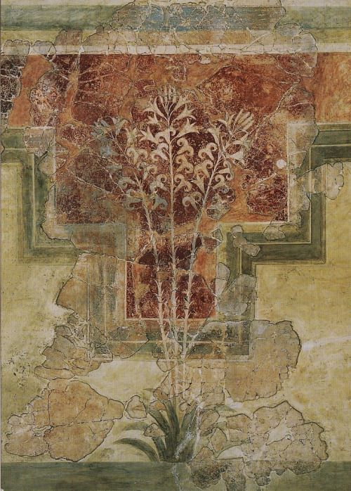Lilly fresco.  1500 BC. Found in House of the Lilies at Amniso, Crete.  Currently in the Heraklion Archaeological Museum.
