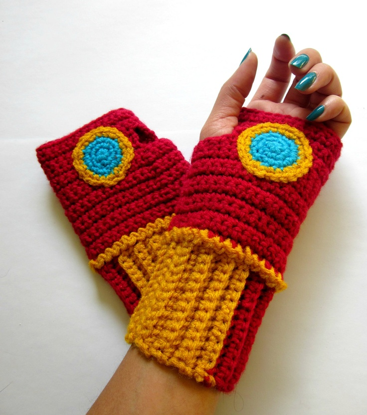 Power Wristies. Iron Man Inspired Wristwarmers. Superhero Fingerless Gloves. Crochet Avengers Marvel Comics Accessory. Cosplay.. $45.00, via Etsy.