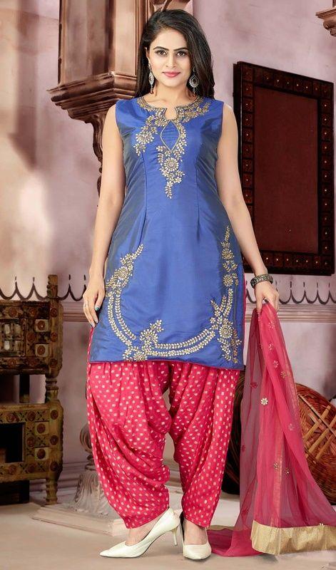 e1b653469d Blue Color Embroidered Georgette Punjabi Suit #punjabipatialasuitsonline  #punjabisalwarsuit shop at:http:/