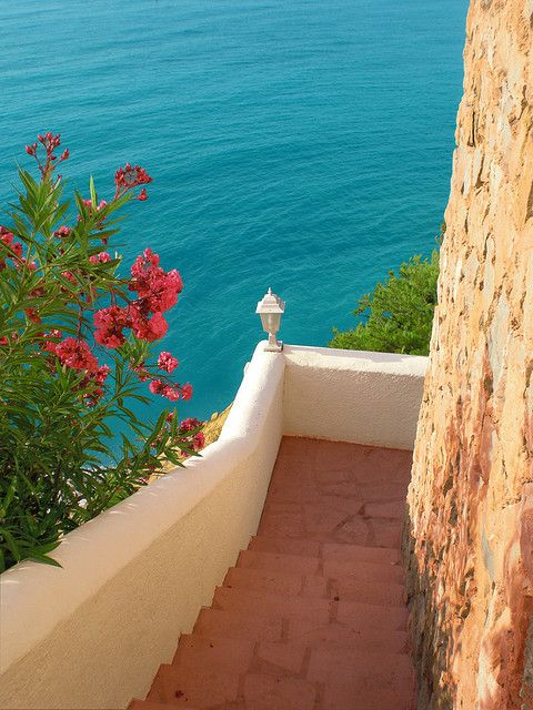 The colors in this just take my breath away.   Steps to the Sea, Mediterranean Sea, Spain  photo by jaysearunner