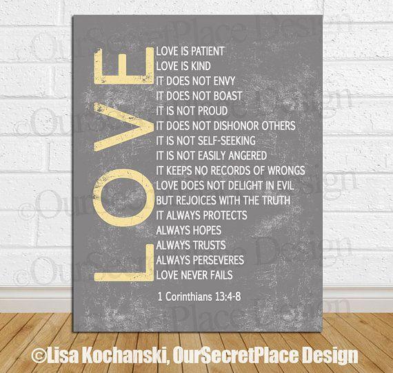 Love Is Patient, Love Is Kind 1 Corinthians 134-8 Bible Verse Chalkboard Art by OurSecretPlace on Etsy, $14.00  Scripture Art  Pinterest  Love Is ...