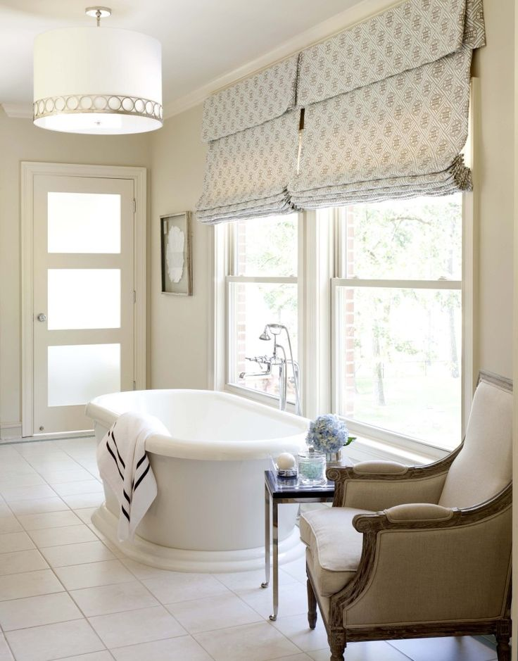 Sherwin williams Wool Skein is a soft warm neutral paint colour with subtle undertones. Shown in bathroom with free standing tub