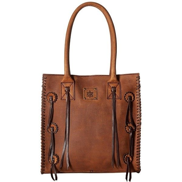 STS Ranchwear Large Chaps Satchel (Brown) Handbags ($230) ❤ liked on Polyvore featuring bags, handbags, shoulder strap purses, brown leather handbags, brown leather tote, leather hand bags and brown fringe purse