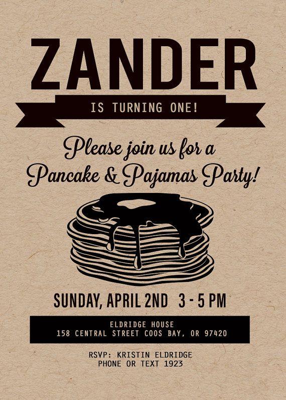 Pancake Party Invitation, Pancake and Pajama Party, Pancake Bar, Wedding Shower…