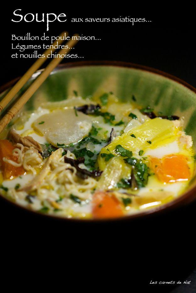 Soupe façon poule au pot d'inspiration asiatique