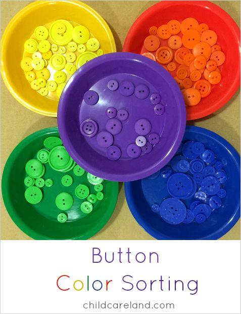 El color del botón de clasificación para preescolar y jardín de infantes