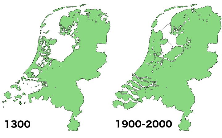 Land Reclamation in the Netherlands 1300 Vs 2000 - Brilliant Maps
