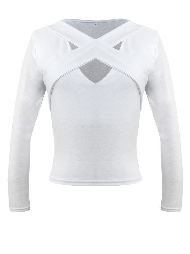V-Neck Cutout Exposed Navel Plain Long Sleeve T-Shirt  $12.95