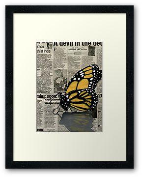 #Butterfly on my Newspaper Framed Print by Cherie Roe Dirksen