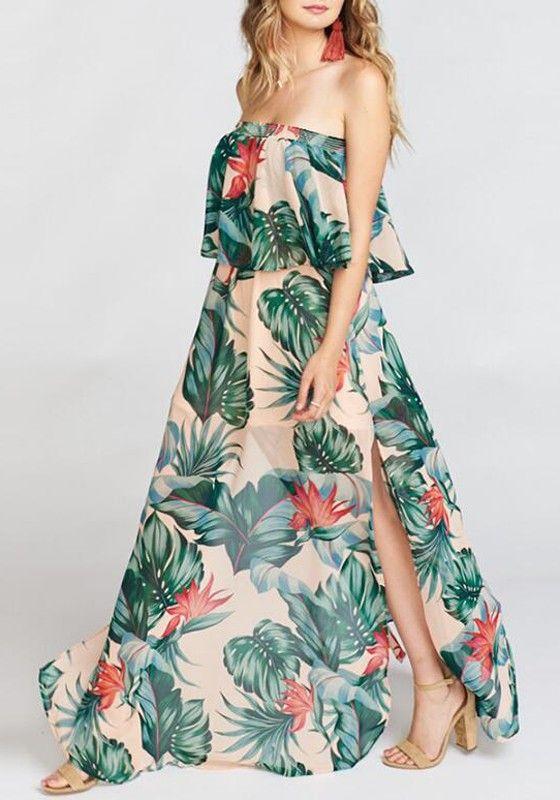 bb0e818c6ba9 Green Palm Leaf Print Ruffle Draped Bandeau Slit Off Shoulder Bohemian Maxi  Dress