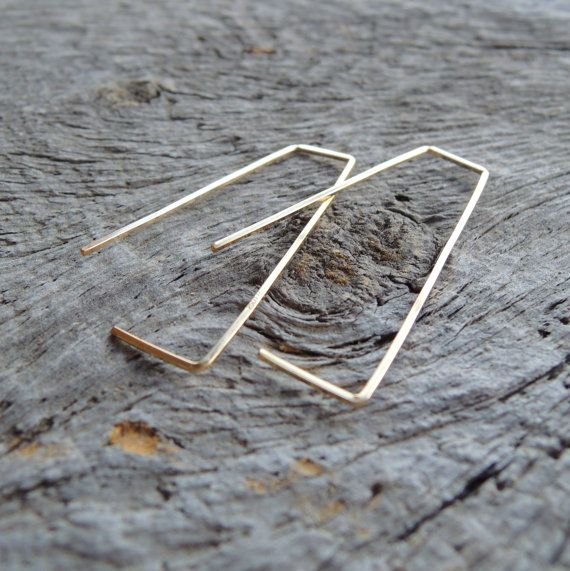 Les boucles d'oreilles de trapèze tourbillon - calibre 20 Square Wire - jaune Rose rempli or ou en argent Sterling