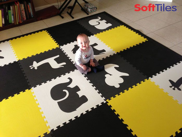 Safari Animal Play Mat Children S Foam Tiles In Black