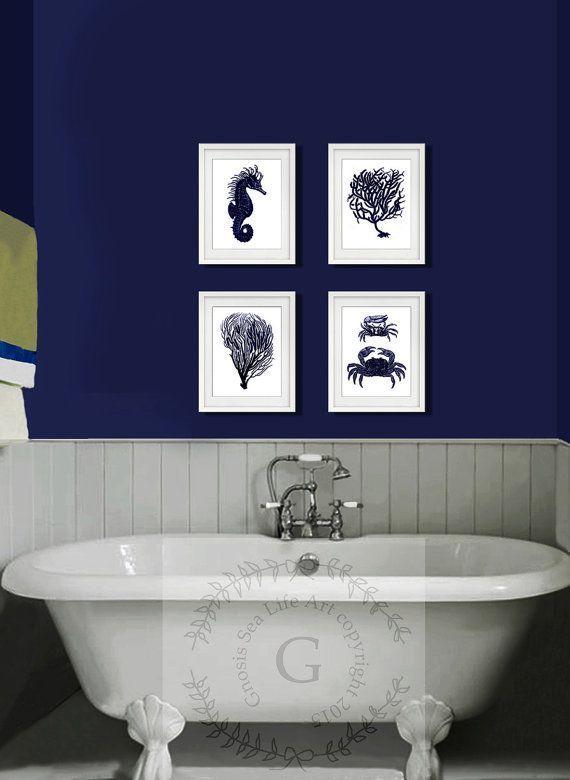 Dark Navy Blue und White Wall Art Satz von 4 Sea Coral, Seepferdchen, Crab Beach Decor. Küstenkunst, Strand