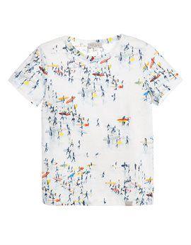 PAUL SMITH JUNIOR White All over Surf Print T-Shirt. Shop online: http://www.tilltwelve.com/en/eur/product/1089230/PAUL-SMITH-JUNIOR-White-All-over-Surf-Print-T-Shirt/